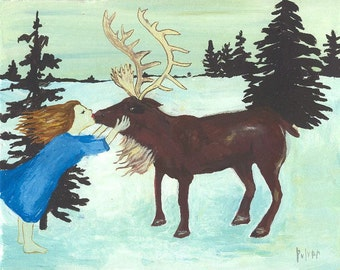 Deer Elk ACEO Fine Art Print - Folk Artwork Animal Card Christmas Holiday Winter Snow Scene - after the Snow Queen, Hans Christian Anderson