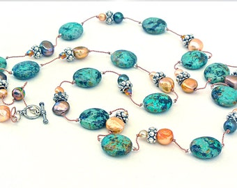 Turquoise, Freshwater Pearl Long Necklace