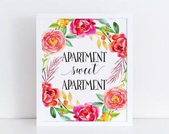 Apartment Sweet Apartment Printable Wall Art / Watercolor Floral Wreath  Print / Housewarming Gift / Digital