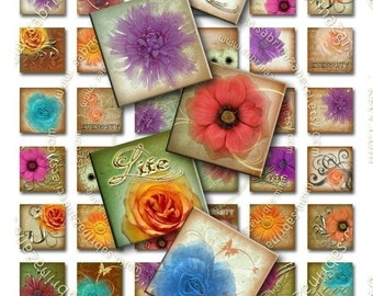 BUY THREE Get One FREE - FLAVORS of FLOWERS - 48 different images 1x1 inch squares for pendants and more - Download and Print Digital Collage Sheet - You can print it as many time as you need -