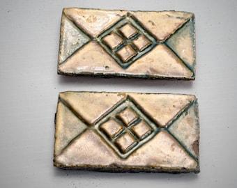 Henry Mercer Moravian glazed redware 2 tiles glazed geometric design