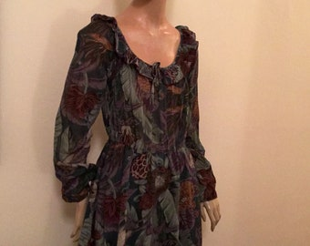 Vintage Lush Tropical Print Dress S/M