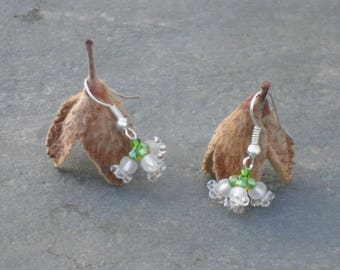 Lily of the Valley Earrings, White Flower Earrings, in ivory, crystal, white, yellow, and leaf green Czech seed beads, UK seller