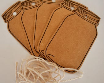 5 x Mason Jar Tags with string - 93mm x 50mm - 210gsm Cardstock