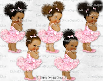 Princess Ballerina Pink Camo Shirt Tutu & Shoes | Vintage Baby Girl African American Tones Afro Puffs Bun | Clipart Instant Download