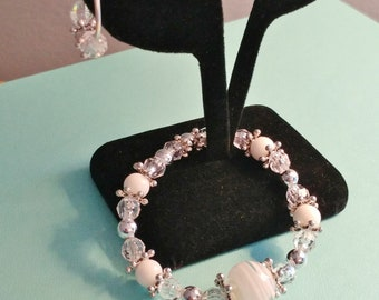 Handmade White Clear & Silver Bead Stretch BRACELET + EARRINGS SET
