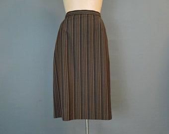 Vintage 1960s Skirt, 27 waist, Brown & Black Striped Wool, fully lined