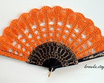 Costume Hand Fan- Halloween Costume- Handmade Lace Hand Fan- Folding Hand Fan- Spanish Wedding Fan- Bridal Bouquet Alternative- Spanish