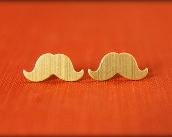 Mustache Earring Studs in Raw Brass - Stainless Steel Posts