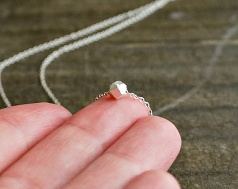 Silver Nugget Necklace / Solid Sterling Geometric Chunk on Sterling Silver Chain ... tiny petite pendant everyday jewelry