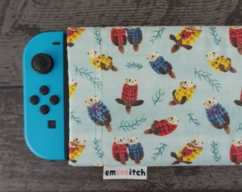 Sea Otters Wearing Plaid Cute Otter Ocean Animal Patterned Nintendo Switch Protective Fabric Pouch Case