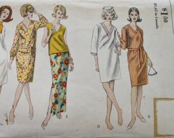 60s Vogue 6170 Shift Dress Vintage Sewing Pattern, OverBlouse and Straight Skirt -Bust 34