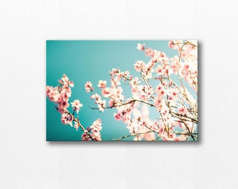 blossom canvas print botanical 12x12 24x36 flower photography canvas wrap floral photography canvas art gallery wrapped canvas pink teal