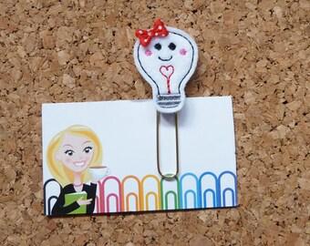 Light Bulb Planner Clip, Felt Paper Clip, Refrigerator Magnet, Cute Brooch Pin, Planner Accessories, Ribbon Bookmark, 568
