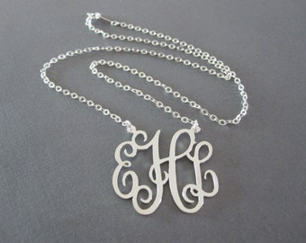 Personalized Sterling Silver Monogram Necklace - 3 Pendant Sizes - Monogram Jewelry - Initial Necklace - Monogrammed Gifts - Custom Necklace