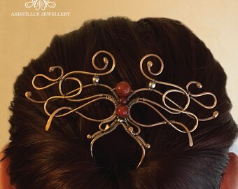 Wire Wrapped Hair Pin, Medieval Hair Pin, Elven Hair Pin, Art Nouveau Hair Pin, Carnelian Hair Pin, Bronze Hair Pin, Hair Fork, Hair Slide