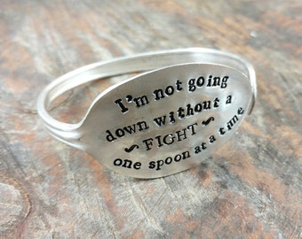 Spoonie Bracelet, Vintage Silver Plated Stamped Spoon, Not Going Down Without a Fight, One Spoon at a Time, Chronic Illness, Spoon Theory
