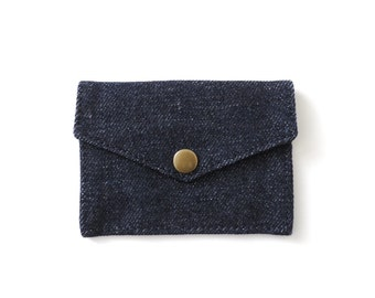 Snap Denim Wallet Minimalist Card Wallet