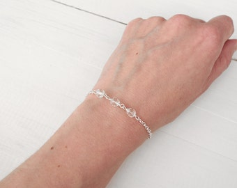 Sparkly bracelet dainty chain bracelet minimalist layering bracelet for women faceted glass beads