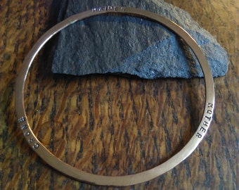 Copper Goddess Bracelet, Maiden, Mother and Crone - hand stamped wiccan bangle