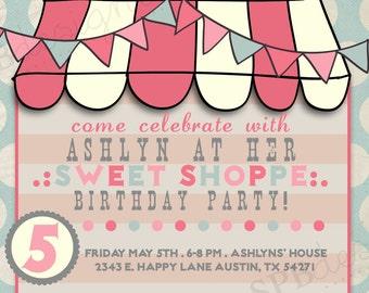 Birthday Party Invitation -- Sweet Shoppe