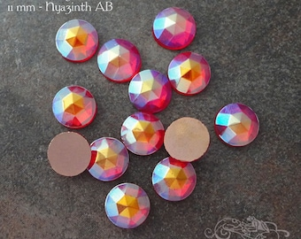 Vintage Cabochons  - 11 mm Hyacinth AB Aurora Borealis - 6 West German Faceted Glass Stones