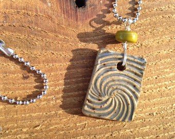 Smoky blue spiral ceramic pendant necklace with ball chain, stoneware pendant necklace