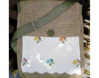 Repurposed Burlap Crossbody Bag