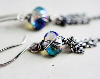 Oracle Earrings, Drop Earrings, Blue Glass, Czech glass, polestar, Dangle earrings, Faceted glass, Classic Earrings