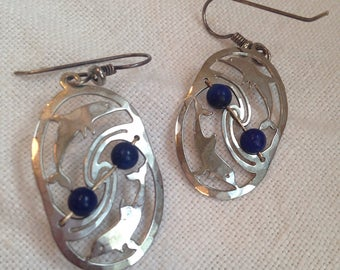 Vintage Wild Bryde Dolphin Dangle Earrings with Lapis Beads