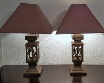 One pair neoclassical table lamps with shades.