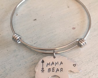 Mama Bear jewelry. Mama Bear Bracelet. Momma Bear. Hand stamped bracelet. Mothers jewelry. Gift for her. New mom gift. Mother's day gift