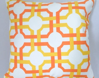 """Orange and Yellow Pillow Cover // Geometric Pillow Cover // 16""""x16"""" Pillow Cover"""