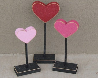 3 Tall Standing Heart Block Set for February, love, Valentines, shelf, desk, office and home decor