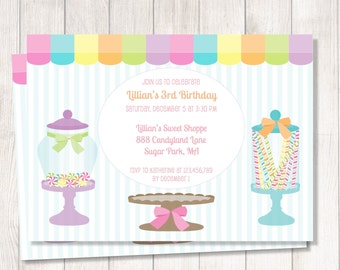 Candyland party invitation, candyland birthday party, candy shop birthday, candy land invitation, printable candyland invitation