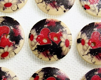 """Two Hearts: 3/4"""" (19mm) Wood Buttons - Set of 9 New / Unused Buttons"""