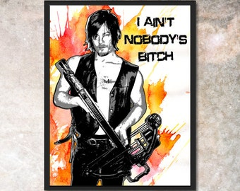Daryl Dixon Original Pop-Art with Water Colors Print Walking Dead 8x10 11x14