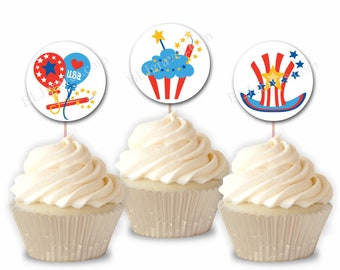 Patriotic July 4th Celebration Party Cupcake Toppers, Independence Day Party or Food Picks, Set of 12  CT010