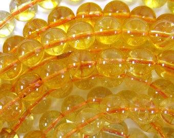 """8mm yellow citrine round beads 15.5"""" strand 34651"""