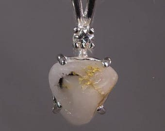 Raw Native Gold in Quartz from California & White Sapphire in Sterling Pendant w Chain Fast Free Shipping w gift wrap