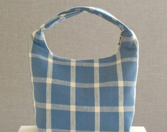 Lunch Bag Insulated, Women Lunch Bag, Work Lunch Tote, Handmade Lunch Bag, Men Lunch Bag, Boys Fabric Lunch Bag, Dusty Blue Large Checker
