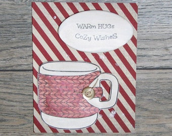 Warm Hugs, Cozy Wishes Distressed Barn Red handcrafted card-CB123117-32