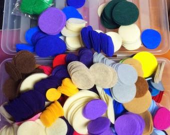 """1 lb Assortment Felt Circles - 1"""" to 2"""" diameters, more than 15 colors mix"""