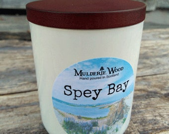 Spey Bay Ocean Sea Floral Driftwood Scented Soy Wax Luxury Candle Handmade White Glass Wooden Top Limited Edition