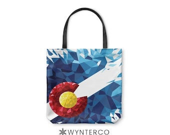 TOTE BAG - Colorado Polygon Tote Bag - Canvas tote bag, Colorado Tote Bag, Colorado shoulder carry bag, Yoga Tote Bag Wynterco art bag tote