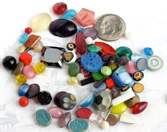 Random Assortment Of Vintage Glass Stones - Beads - Cabochons (1 ounce) (CB523)