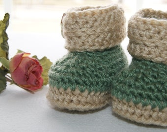 Infant Shoes - Baby Boy Booties - Green - Size 3 to 6 Month - Cuff Style Bootie for Baby Boy - Beige - Hand Crochet Accessory for Boy Infant