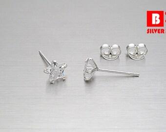925 Sterling Silver Earrings, CZ Star Earrings, Cubic Zirconia Earrings, Stud Earrings Size 5 mm (Code : EB127)
