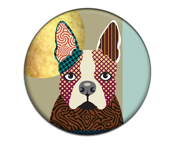 Boston Terrier Fridge Magnet, Cute Boston Terrier Gift, Dog Lover Gift,   2. 25 inches diameter and 0.25 inches thick