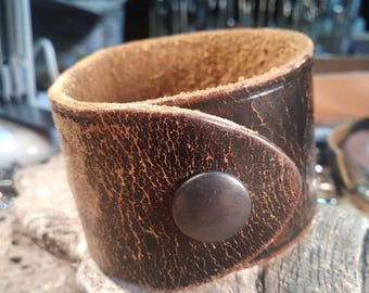Upcycled, reclaimed, repurposed, recycled, upcycled, distressed, dark brown leather bracelet.  #1014